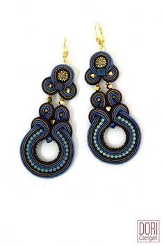 Ishtar blue hoop earrings by Dori Csengeri