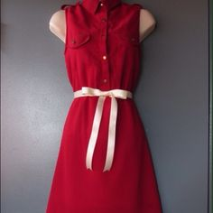Wine red hi-low dress Comes with two ribbon belts. Hits mid thigh in front. Perfect for December Holidays, will ship Monday morning. ModCloth Dresses High Low