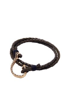 Men's Dark Green Wrap-Around Leather Bracelet with Gold Hook Lock - Nialaya Jewelry  - 2