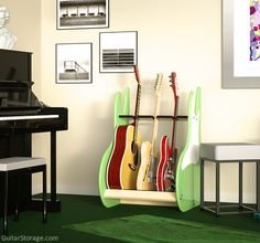 3 #Guitar Stand for the Music Room. Also available in red and black. View details at https://guitarstorage.com/shop/three-guitar-stand-retro-deluxe/