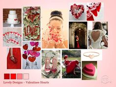 with Valentines Day in a week, this red heart mood board could inspire a wedding theme for next February! Valentine Heart, Valentines, Wedding Mood Board, Design Girl, Colour Schemes, Love Is All, Celebrity Weddings, Celebrations, Place Cards