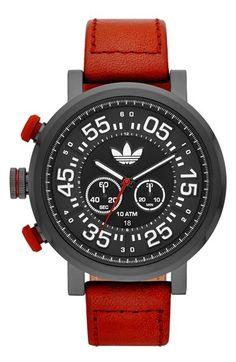 Men's adidas Originals 'Indianapolis' Chronograph Leather Strap Watch