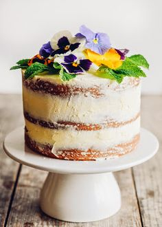 Triple Lemon Naked Layer Cake with Edible Flowers / Buttered Side Up