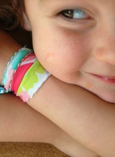 DIY Bracelets - Absolutely LOVE this idea to  upcycle old swimming suits into these lovely bracelets...genius!