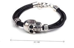 Stainless Steel Skull+Leather Bracelet - Bracelet