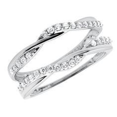 10k White Gold 1/3 ct Solitaire Enhancer Diamonds Ring Guard Wrap Wedding Band #jewelryauctionhouse #Solitaire