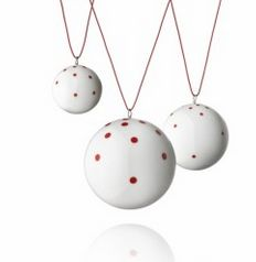 Set of 3 Christmas decorative baubles in red dots by Anne Black, $60