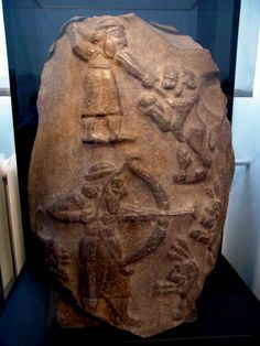 Relief with lion hunt. Found in Uruk (Warka) Location: Iraq Museum, Baghdad, Iraq. Period/Style: Sumero-Akkadian