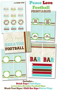 football printables, super bowl party printables, peace love football party decor via party box design Football Crafts, Free Football, Football Baby, Football Team, Football Party Invitations, Chili Party, Drink Tags, Party In A Box, Party Signs