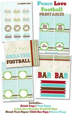 Peace Love Football Printables
