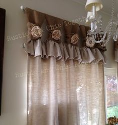 Burlap Drop cloth Wide ruched tabs curtains Tea dyed rosette