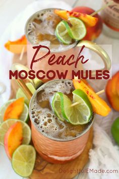 A delicious twist on the classic Moscow Mule recipe! Made with just a few simple ingredients, this Ginger Peach Moscow Mule combines the cold, crisp flavors of ginger beer with fresh peaches. Fancy Drinks, Summer Drinks, Peach Drinks, Peach Alcohol Drinks, Happy Hour Drinks, Alcohol Drink Recipes, Non Alcoholic Drinks With Ginger Beer, Liquor Drinks, Bourbon Drinks