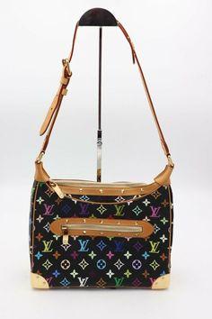 78da3d24cc95 Details about Louis Vuitton Black Monogram Multicolore Boulogne Bag