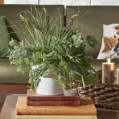 Three Posts Faux Mixed Centerpiece Plant in Pot Topiary Plants, Boxwood Topiary, Ivy Plants, Potted Trees, Faux Plants, Potted Plants, Palm Plant, Fern Plant, Peonies And Hydrangeas
