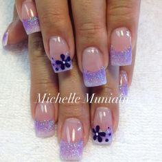 Lovin the purple glitter tips... but with shorter nails