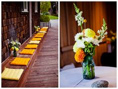 dressed up boathouse. easy way to dress up outdoor areas with seat cushions in wedding colors. (i also love the bouquet)