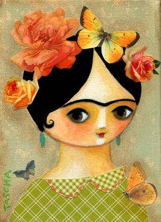 Springtime Frida with butterflies and roses Art Print
