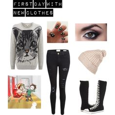 neko reader new clothes first day by maddydeschaine on Polyvore featuring Paul & Joe Sister, Frame Denim and Converse