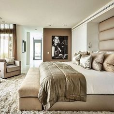 Ideas Bedroom Inspo Quartos For 2019 Bedroom Inspo, Bedroom Colors, Home Decor Bedroom, Luxury Decor, Luxury Interior Design, Design Interiors, Trendy Bedroom, Modern Bedroom, Master Bedrooms