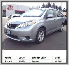 2011 Toyota Sienna LE 8-Passenger Mini-Van  Seatback Storage: 2, Vehicle Emissions: Ulev Ii, 3Rd Row Hip Room: 50.3, Digital Audio Input, Body-Colored Bumpers, Passenger And Rear, Rear Leg Room: 37.6, Strut Front Suspension, Rear Stabilizer Bar: Regular, Instrumentation: Low Fuel Level, Passenger Airbag, Door Reinforcement: Side-Impact Door Beam, Power Windows, Dual Illuminated Vanity Mirrors, Clock: In-Dash, Fuel Capacity: 20.0 Gal., Tire Pressure Monitoring System