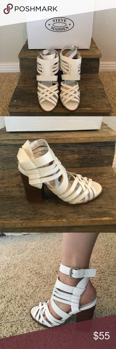 Steve Madden- Hollt White Leather Beautiful white leather pump. With strap detailing up the front and then a wrap around ankle strap brings it all together! Steve Madden Shoes Heels