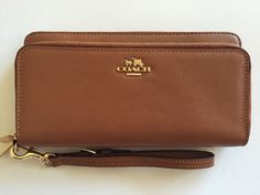 Coach F52103 Smooth Leather Double Zip Accordion Wallet Saddle   eBay