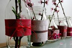 Jars with fabric - so simple but really lovely.