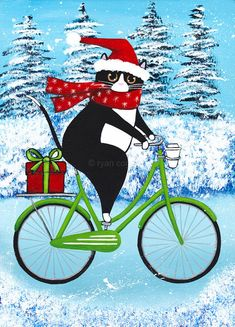 Christmas Tux Cat on a Bicycle - Original Winter Folk Art Painting Christmas Animals, Christmas Cats, I Love Cats, Crazy Cats, Memes Arte, Frida Art, Cute Cat Drawing, Photo Chat, Cat Cards