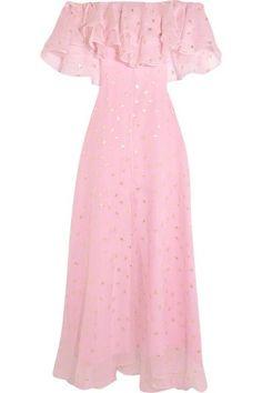 Temperley London - Off-the-shoulder Fil Coupé Silk-blend Organza Gown - Pink - UK16
