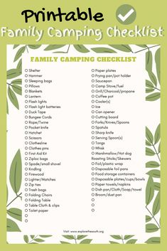 Our printable Family Camping Checklist to help you remember what to pack for a camping trip. Campsite necessities for the tent, dining and cooking outdoors. #camping #packinglist #familytravel #travelblog #familyadventure Camping Checklist Family, Family Camping, Family Travel, Bus Travel, Travel Usa, Travel Tips, North Carolina Lighthouses, Campfire Fun, Hiking Supplies
