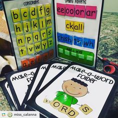 Our make a word folder are perfect for word work time, spelling practise and independent work. Make sure you've got plenty of velcro handy 😉 📷 G Words, Learn To Spell, Teacher Organization, Organizing, Kindergarten Reading, Word Work, Love Reading, Fun Learning, Language Arts