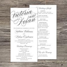 Calligraphy Wedding Program