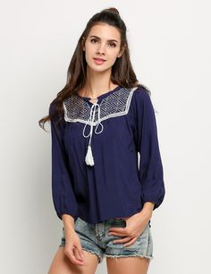 Navy blue Loose Sleeve Blouses