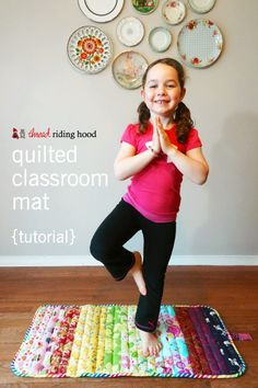 Thread Riding Hood - Quilted Classroom Mat {tutorial}-could make it longer as a yoga mat Fabric Crafts, Sewing Crafts, Sewing Projects, Scrap Fabric, Diy Crafts, Yoga For Kids, Diy For Kids, Patchwork Quilt, Quilts