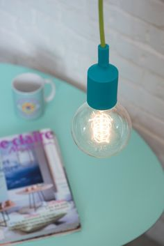 Turquoise Pendent Lamp, Bare Bulb Lamp with a Colord Cord, Silicone Rubber Pendent Lamb with a Wall Plug by TweelingenHomeDecor on Etsy