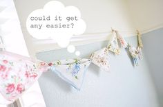 This would be adorable in my little girl's room...vintage handkerchief bunting.