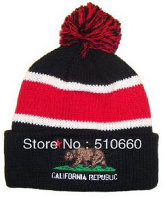 Free Shipping 2013 New Arrival California republic Beanie Hats caps For Winter with Pom Pom on AliExpress.com. $9.99