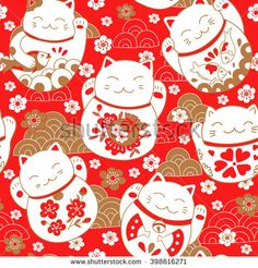 Red Cute Pattern with Cats Lucky Charms Maneki Neko in Oriental Style White Wall Art Hanging Tapestry inch Maneki Neko, Hanging Tapestry, Hanging Wall Art, Wall Hangings, Cat Tattoo, Luck Tattoo, Japanese Cat, Kawaii Doodles, White Wall Art