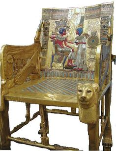 The throne chair of king Tutankhamun,  showing Its back, made of wood with a gold leaf finish, inlaid with semi-precious stones and colored glass forming a palace scene, with the king attended to by his Great Royal Wife Ankhesenamen. We can also see the inside of the right arm of the throne, featuring a reversed image of the Ouret winged cobra in a Neb basket, wearing the Hedjet white crown, its wings protecting a Shennu (cartouche) bearing the former name of the king, Tutankhaten. The…