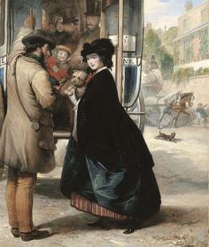 """Thomas Musgrove Joy's """"The Charing Cross to Bank Omnibus,"""" c. 1860. A young woman accessorized with striped petticoat and little dog."""
