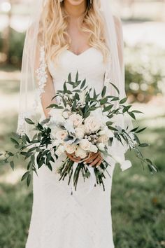 Woman's Club of Coconut Grove Wedding | Ruscus, white rose and dusty miller wedding bouquet