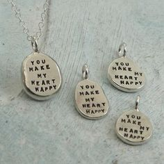 Nugget Necklace  You Make My Heart Happy   in by KathrynRiechert, $38.00 full-time-etsy-crafters