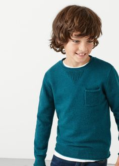 Patch pocket cotton sweater | MANGO KIDS