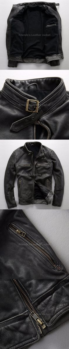 2018 Vintage Black Men Leather Motorcycle Jacket Stand Collar Plus Size XXXL Slim Fit Short Biker Leather Coat FREE SHIPPING
