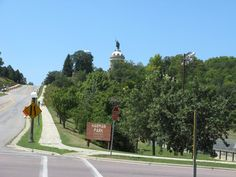 Aug 2012 - New Ulm, Minnesota. Hermann Heights Monument over Harman Park.