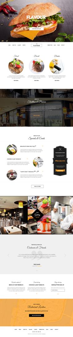 Buy The Flavour - Restaurant WordPress Theme by ThemeFuse on ThemeForest. Meet The Flavour, a restaurant WordPress Theme with a classy and modern design that will definitely stand out and pro. Design Sites, Food Web Design, Best Web Design, Web Responsive, Ecommerce, Ui Web, Layout Design, Menu Design, Design Design