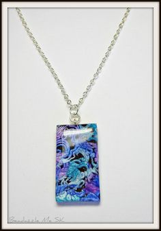 Black Damask Pendant Necklace polymer clay handmade by artist Sherri Kellberg of BeadazzleMe, $18.00