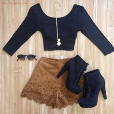#fall fashion #shoppriceless lace shorts, crop top, black, brown, booties, accessories