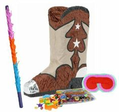 """Cowboy Boot Pinata Party Pack Including Pinata, Pinata Candy and Toy Filler, Buster and Blindfold by Pinata. $35.57. Includes (1) themed Cowboy Boot Pinata. Paper; 18.5"""" high. Includes approximately 2 pounds of Candy and Toys. Caution: not recommended for children under 3 years of age. Includes one hard Plastic Pinata Buster that measures approximately 30"""". Caution: use only under adult supervision. Includes one Blindfold with Elastic String. Measures 7"""" long x 5.5"""" high."""