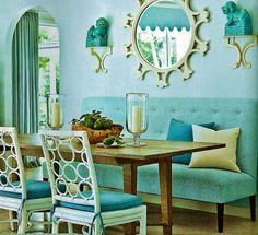 Chinoiserie Chic: Spring Chinoiserie Not my fav colors, but love the furniture design